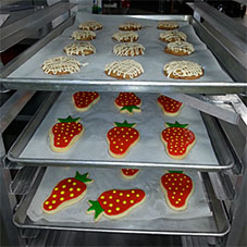 Cooling rakes, multiple ovens and more in our commercial kitchen for rent, From the Farm Treats-Bringing Locally Grown Berries into the Fresh Baked Goodies for Burlington, Washington.